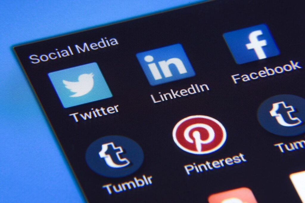 Close-up image of several social media icons. Row one from left to right: twitter,linkedin, facebook. Row two from left to right: Tumblr, pinterest, Tumblr